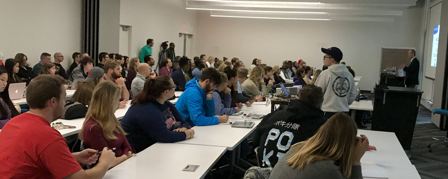 Nearly 150 people attended the Fall Global Issues Forum in Taylor Hall in October 2017.