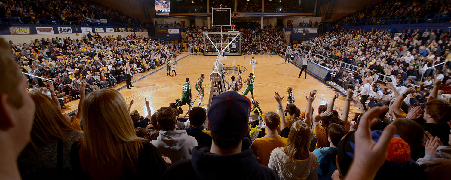 A packed house in the Memorial Athletic and Convocation Center cheers on the Golden Flashes during a 2013 contest.