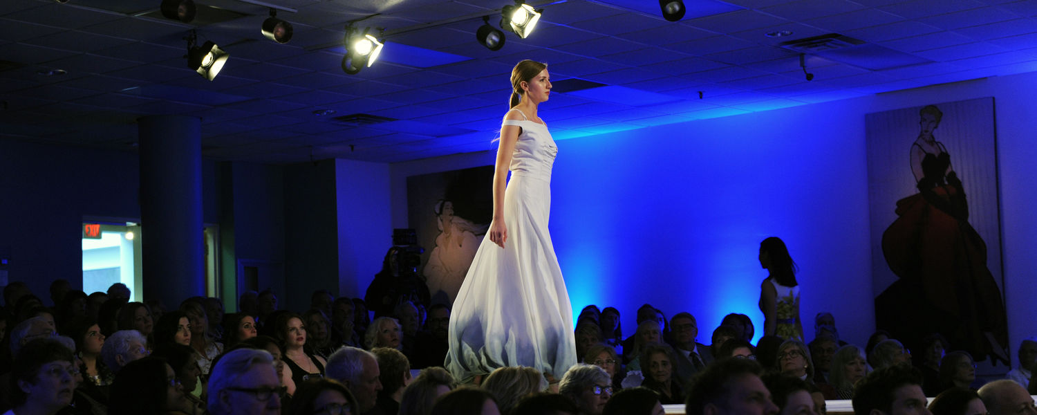 A model displays an eveningwear look created by a Kent State fashion design student during the Annual Fashion Show.