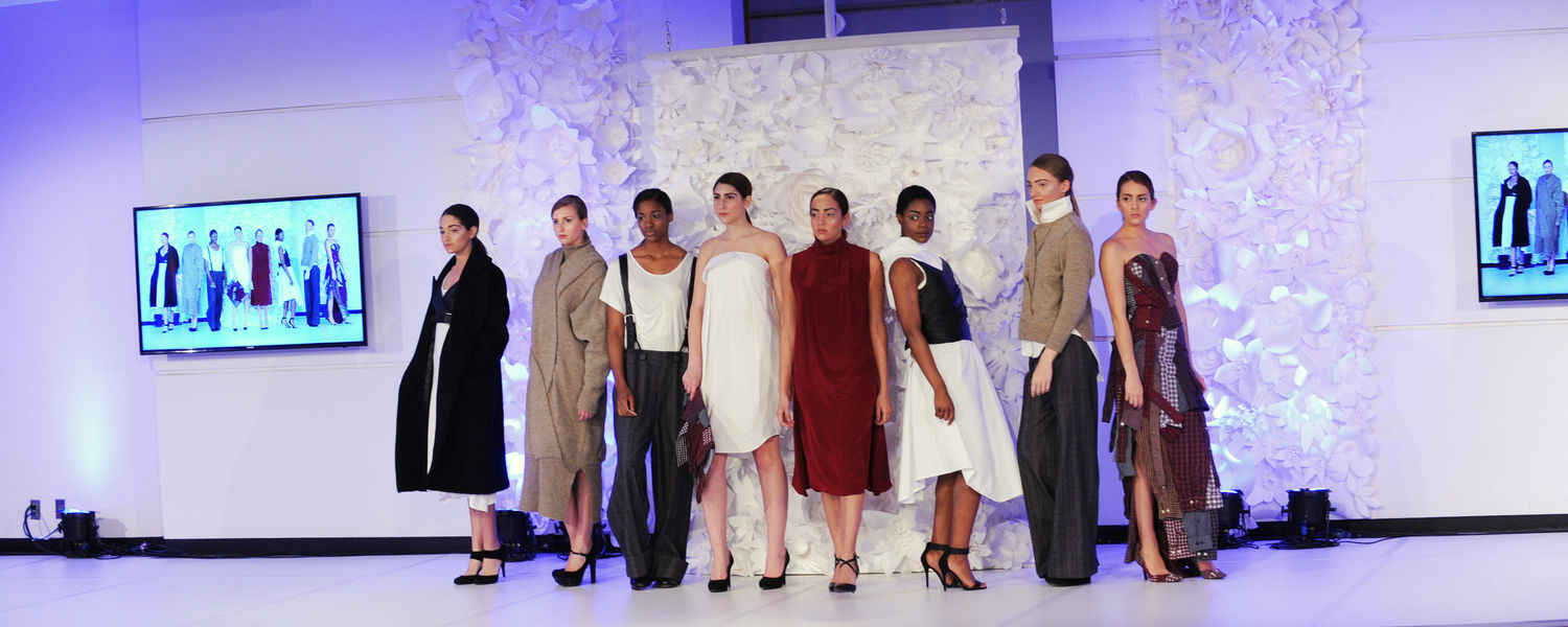 Models display a collection created by a Kent State fashion design student during the Annual Fashion Show.