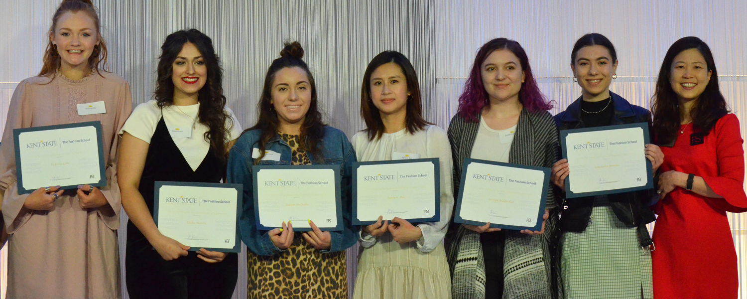 Scholarship recipients pictured with Fashion School Interim Director Dr. Kim Hahn during the Fashion Schools 2019 Annual Scholarship Ceremony