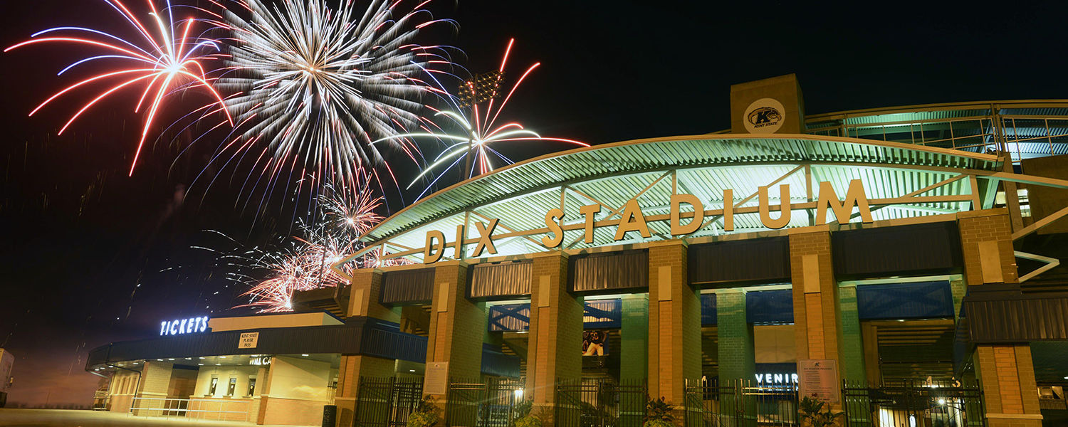 Fireworks erupt over Dix Stadium during a post-game celebration during Kent State's 2012-13 football season