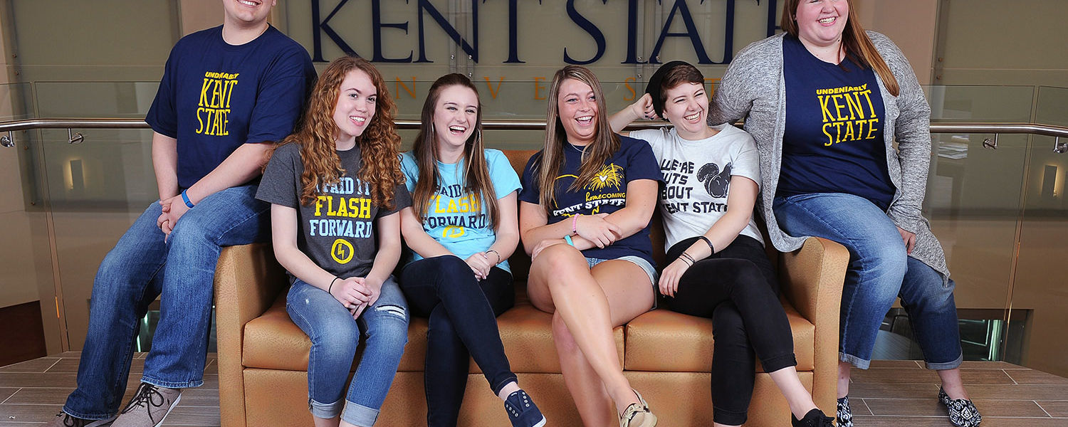 Members of FLASHanthropy share a laugh in the Center for Philanthropy and Alumni Engagement. FLASHanthropy is one of 402 student organizations at Kent State.