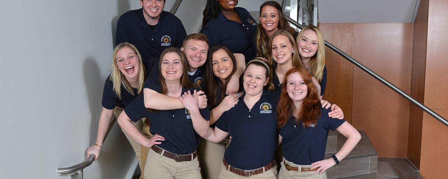 A few members of the Kent State Student Ambassadors assemble for a group photo in the Center for Philanthropy and Alumni Engagement. It is one of 402 student organizations at Kent State.