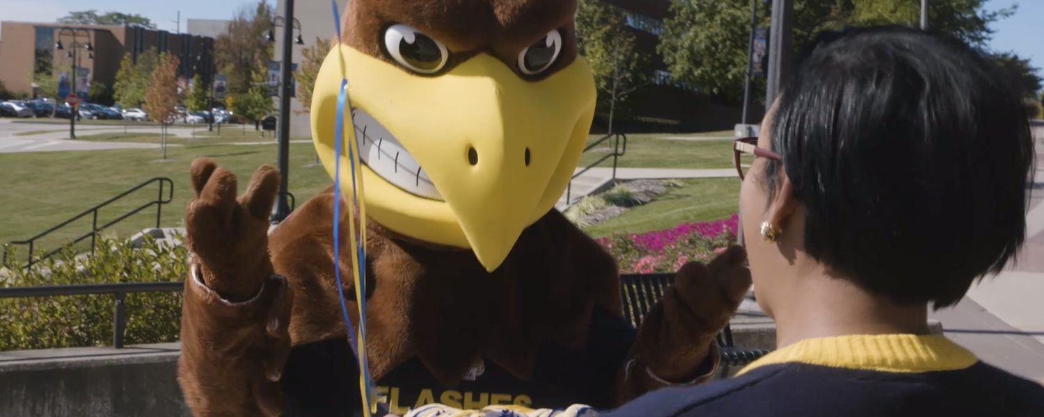 Kent State's mascot Flash is surprised for his birthday on Oct. 12 in a recent social media video