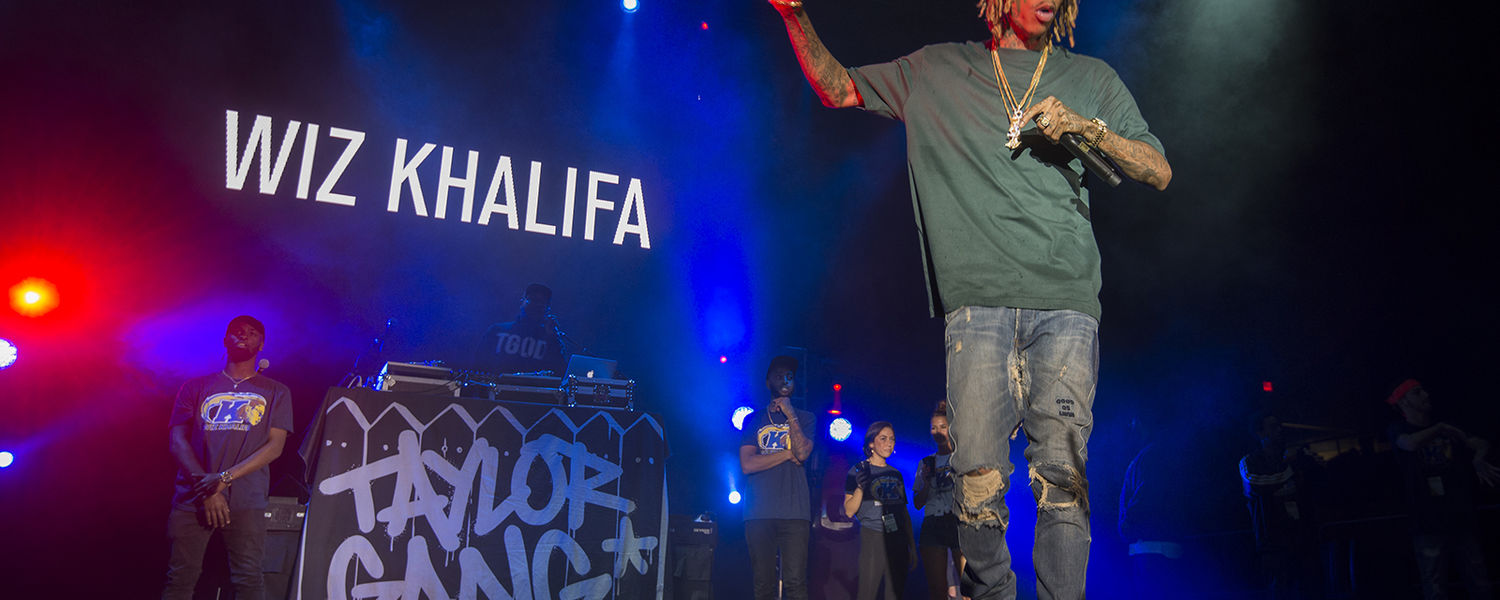 Rapper Wiz Khalifa takes the stage in the MAC Center during FlashFest 2016.