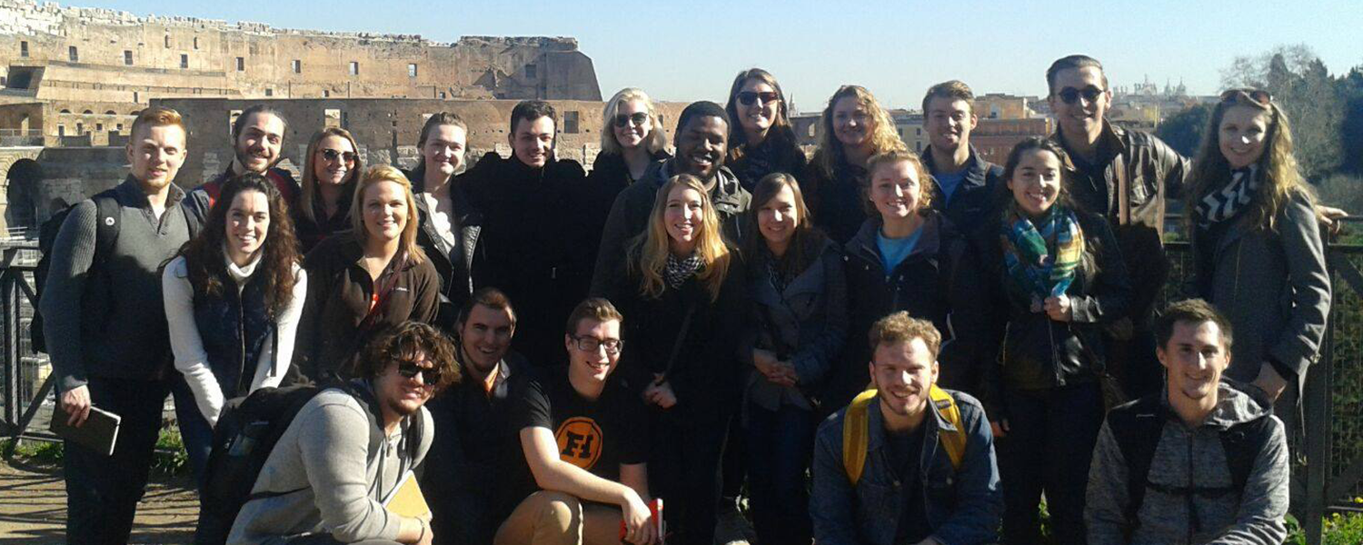 Architecture students visit Colosseum in Rome