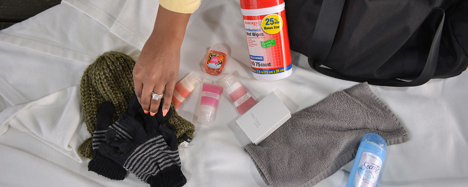 Some of the items Kent State student Ashley Flowers hands out to the homeless in Cleveland include seasonal items like gloves and hats, plus toiletries.