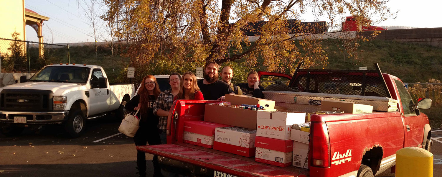 Shown with the collection of food are (from left) Mallory Jackson, Kayla Coss, Rebekah Davis, Andrew Prekup, Marcus Mick and Megan Rodgers, advisor to the Environmental Club.