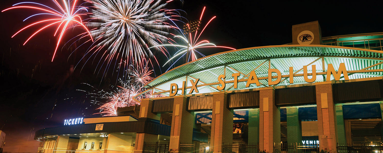 Fireworks light up the night sky above Dix Stadium following the home opener last season.