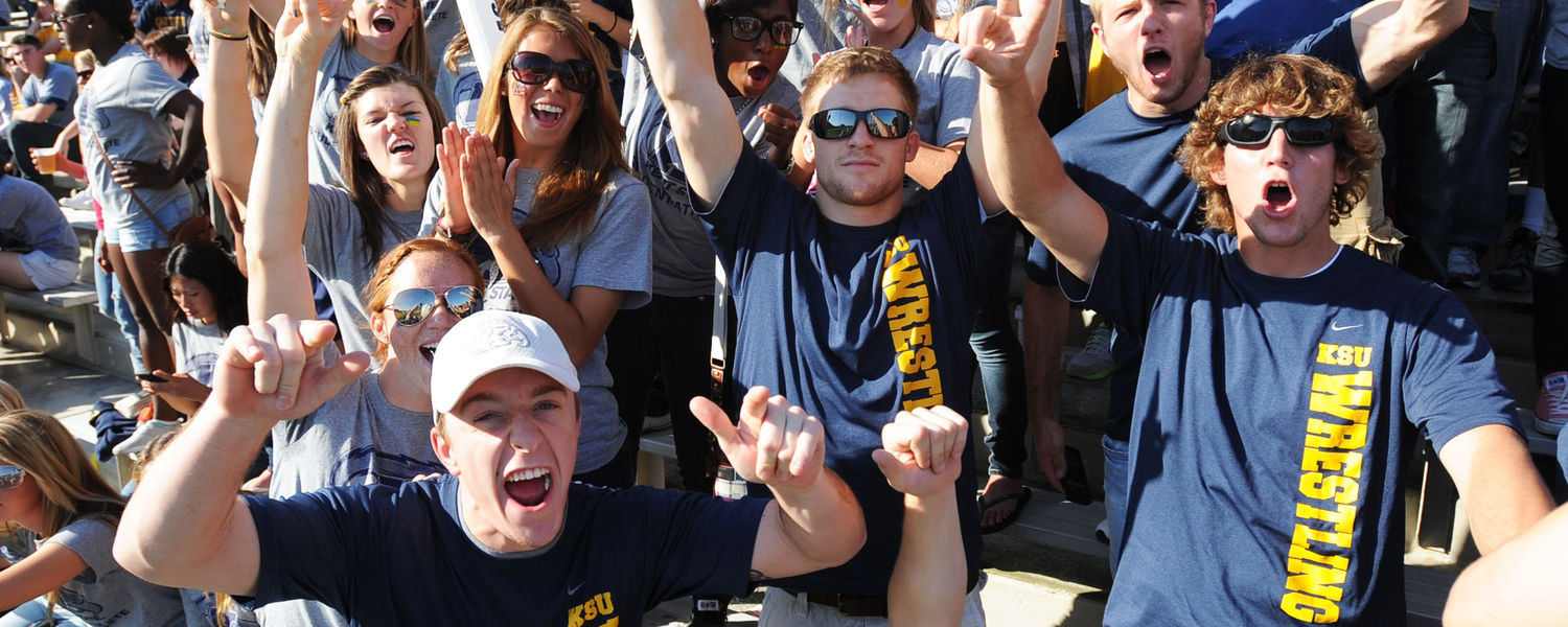 Kent State football fans show their support for the Golden Flashes on a sunny Saturday afternoon in the stands at Dix Stadium during the 2014 season.