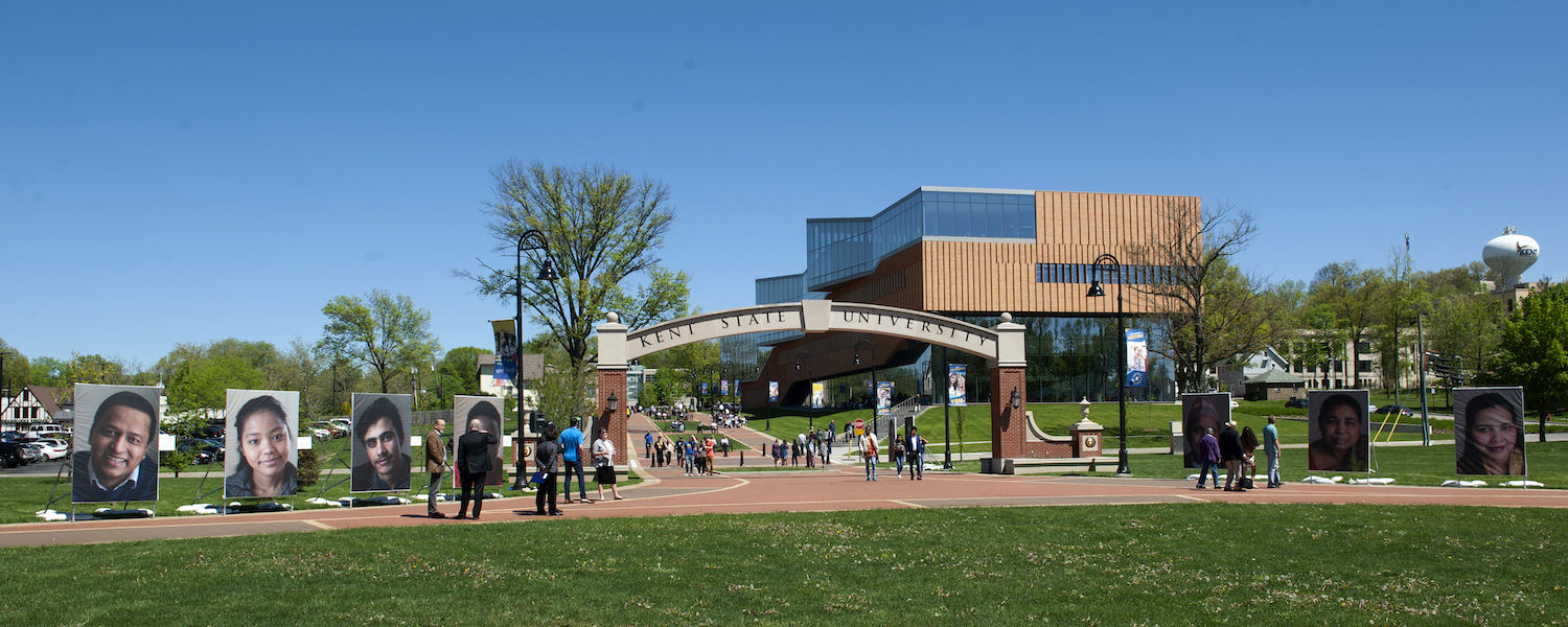 "Kent State's ""We the People"" Exhibition on Display near the Esplanade Arch in May 2019"
