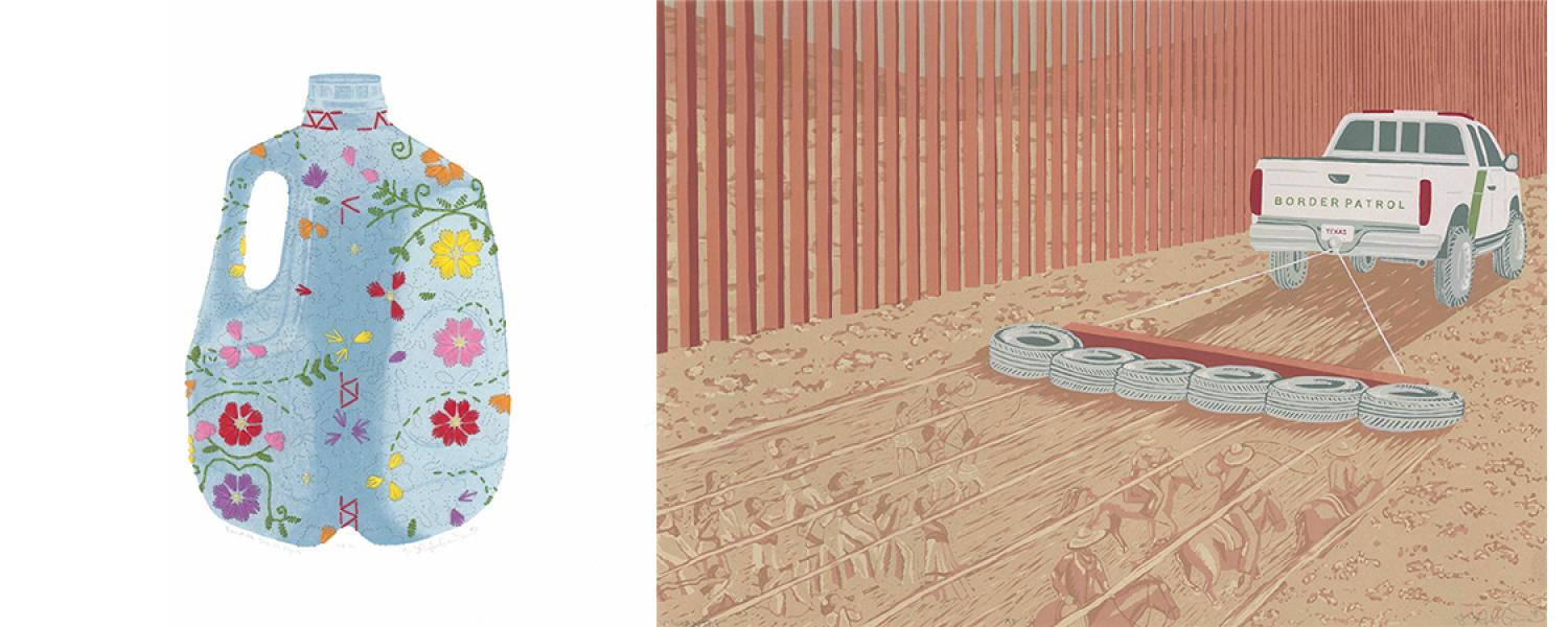 Two prints by J. Leigh Garcia - a decorated water jug and a scene of a truck dragging tires on sand with figures appearing in the sand.