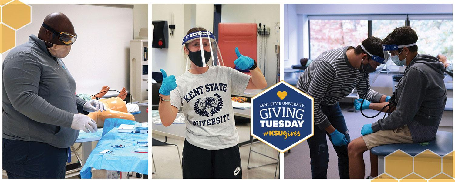 Various nursing students wearing personal protective equipment while practicing skills in the nursing lab at Henderson Hall on the Kent campus.