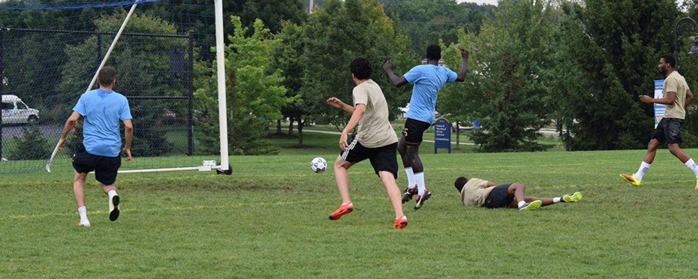 Teams playing soccer