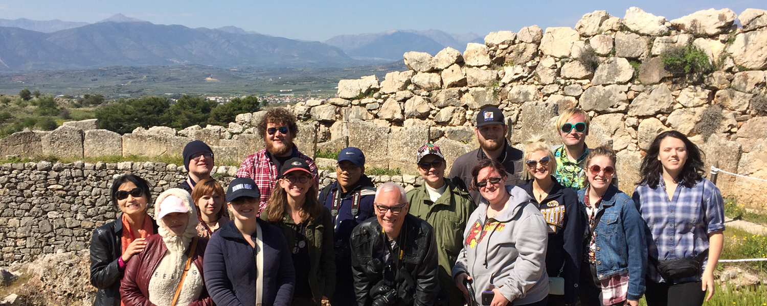 The study group admires the view at acient Mycenea