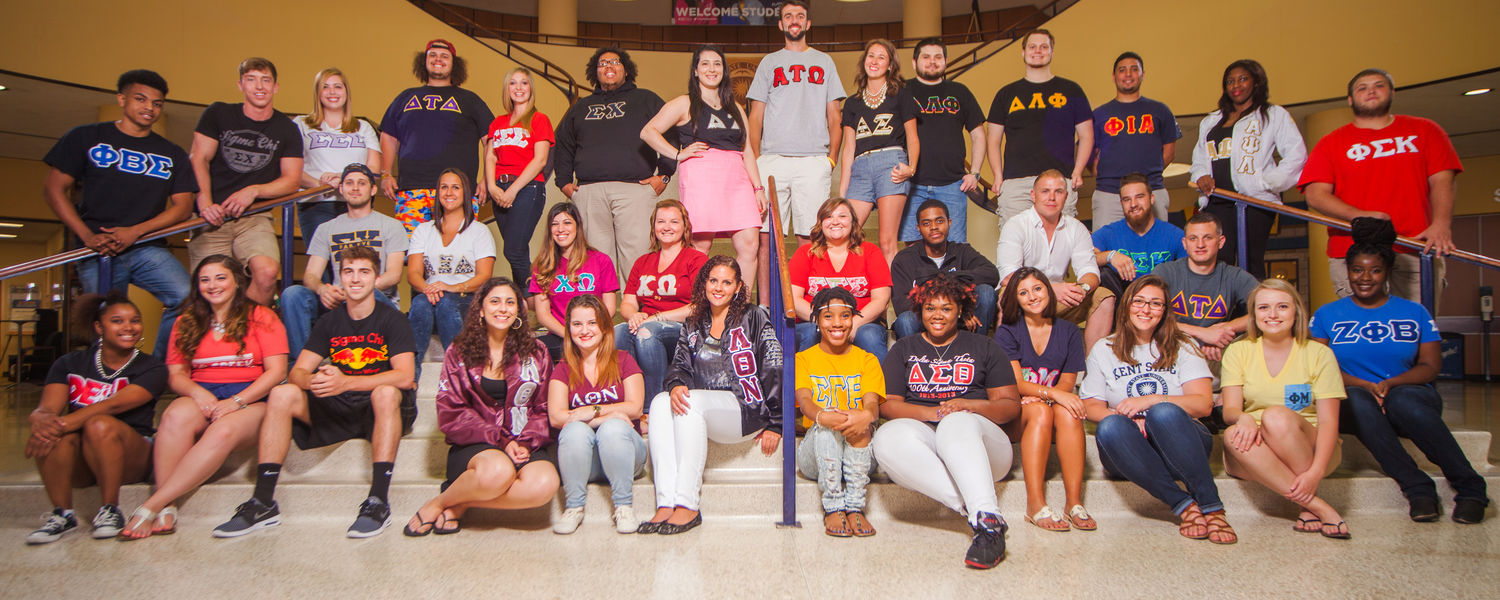 Members of the Greek community at Kent State proudly wear block letters to represent their chapter. (Photo credit: Signum Design)