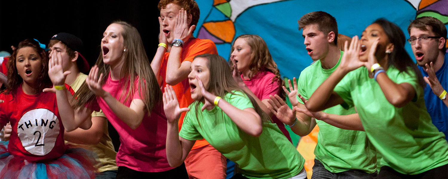 """A team puts on their performance of """"The Cat in the Frat"""" at the Interfraternity and Panhellenic councils' annual Songfest event. (Photo credit: Brianna Neal)"""