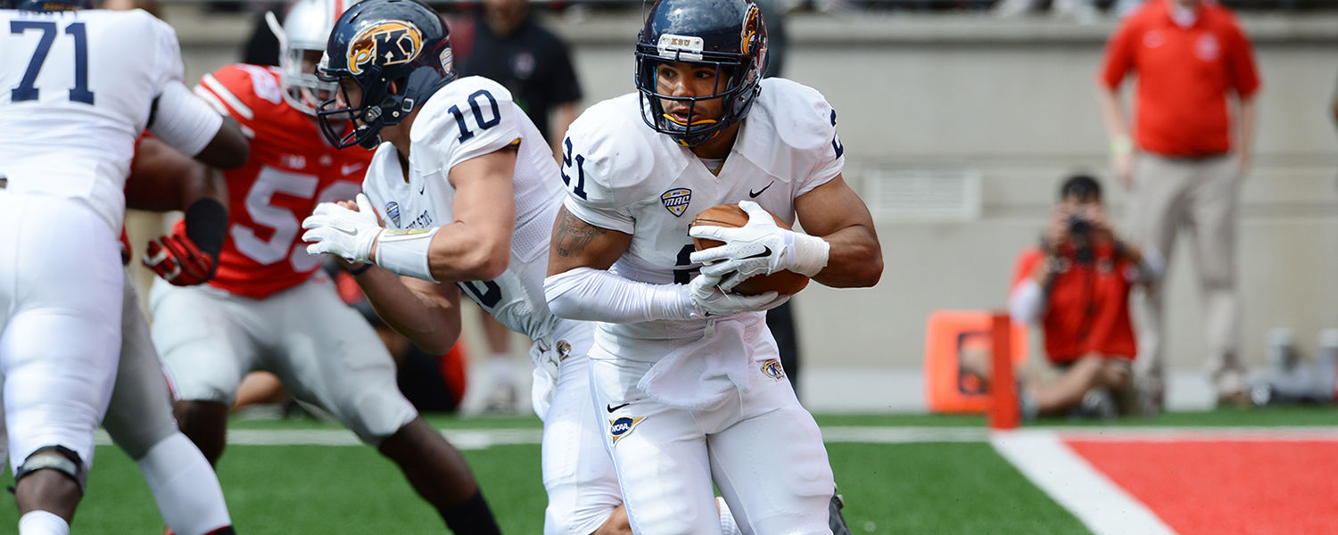 Kent State running back Anthony Meray looks for running room during a game   earlier this season.