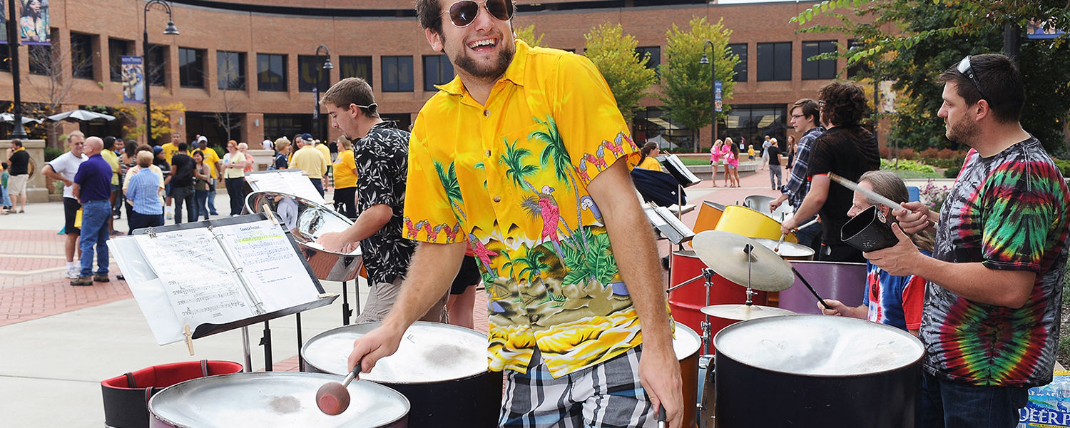 Members of the Kent State Steel Drum Band perform on Risman Plaza during last   year's Homecoming.