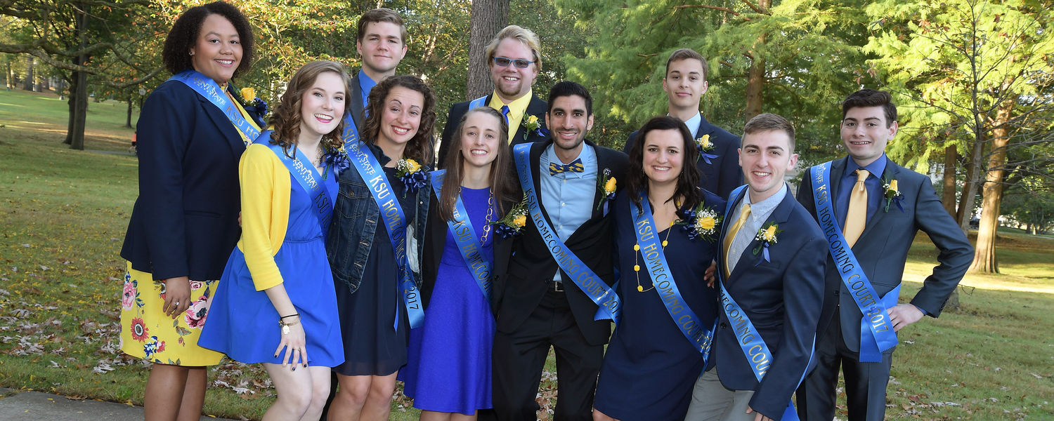 Members of the Homecoming Court pose for photographs at the Alumni Association's breakfast gathering at The Rock on Front Campus.