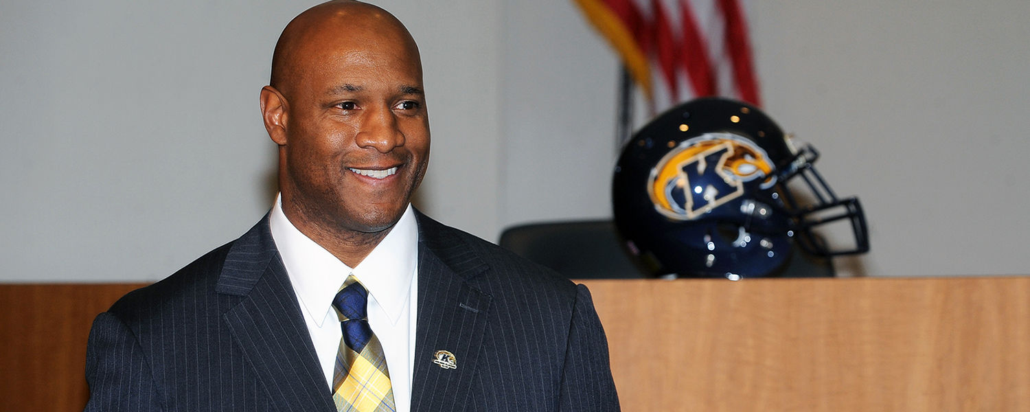 New Kent State head football coach Paul Haynes waits to be introduced as the Golden Flashes' 21st head football coach at a press conference in the Governance Chambers in the Kent Student Center.