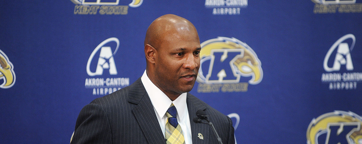 Kent State alumnus Paul Haynes responds to questions from the media after he was introduced as the new Kent State head football coach.