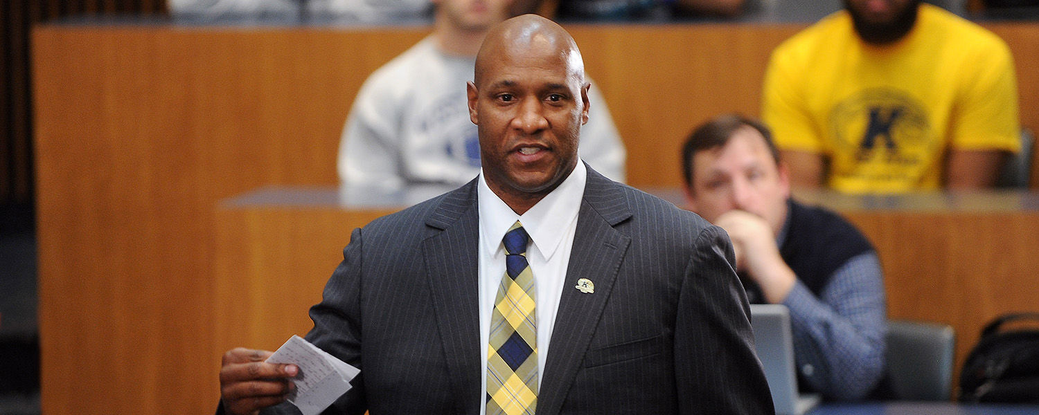 Paul Haynes addresses the football team in a meeting prior to the public announcement that he has been named the new Kent State head football coach.