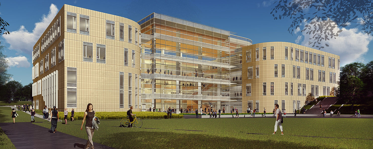 The Hemingway Team's proposed exterior rendering of Kent State's new College of Business Administration building was presented by Craig Copeland of Pelli Clarke Pelli and Jack Bialosky of Bialosky Cleveland.