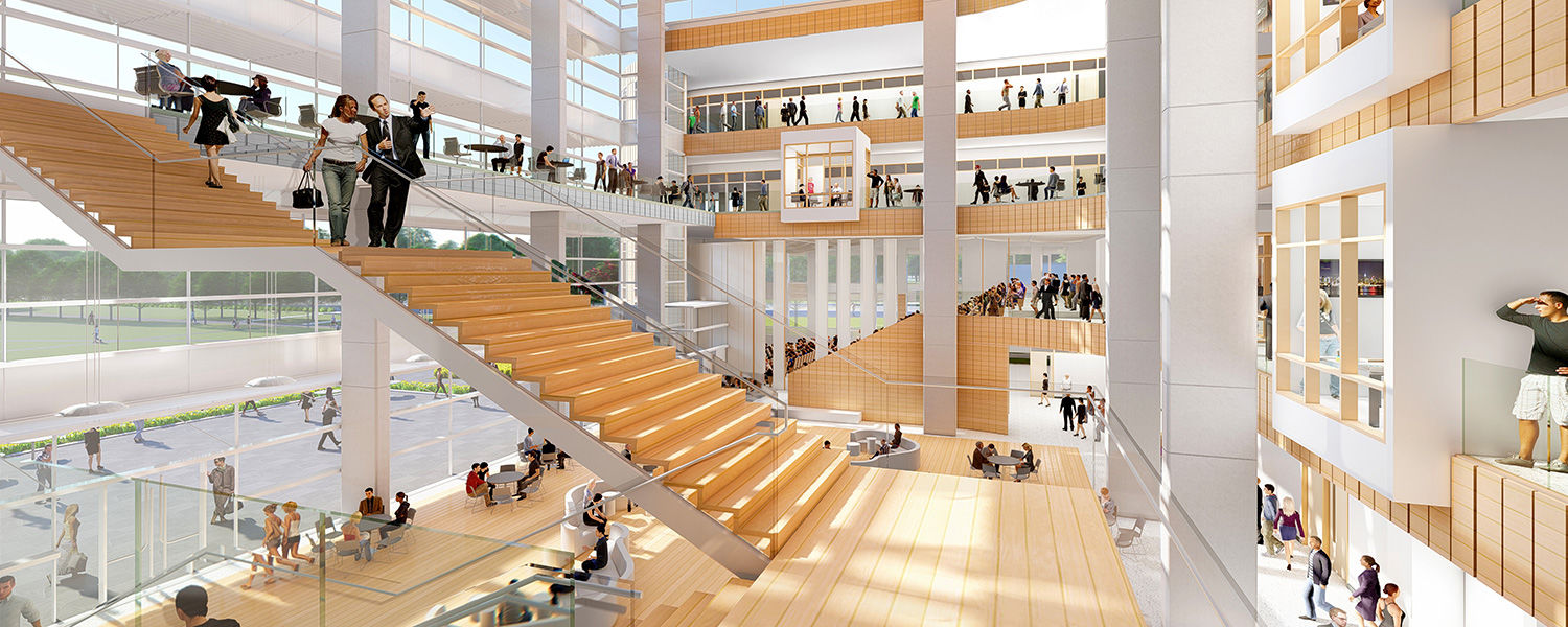 The Hemingway Team's proposed interior rendering of Kent State's new College of Business Administration building was presented by Craig Copeland of Pelli Clarke Pelli and Jack Bialosky of Bialosky Cleveland.