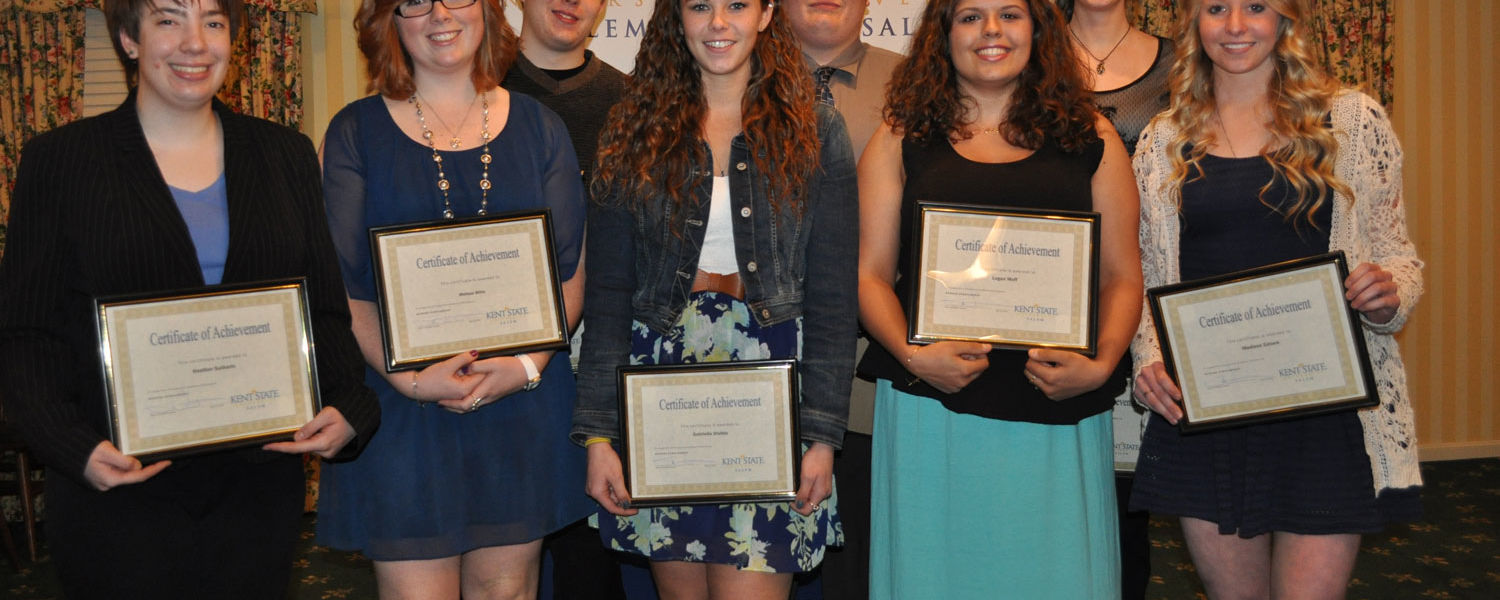 Kent State University at Salem recognized the academic achievements of several students during its annual Student Awards Ceremony.