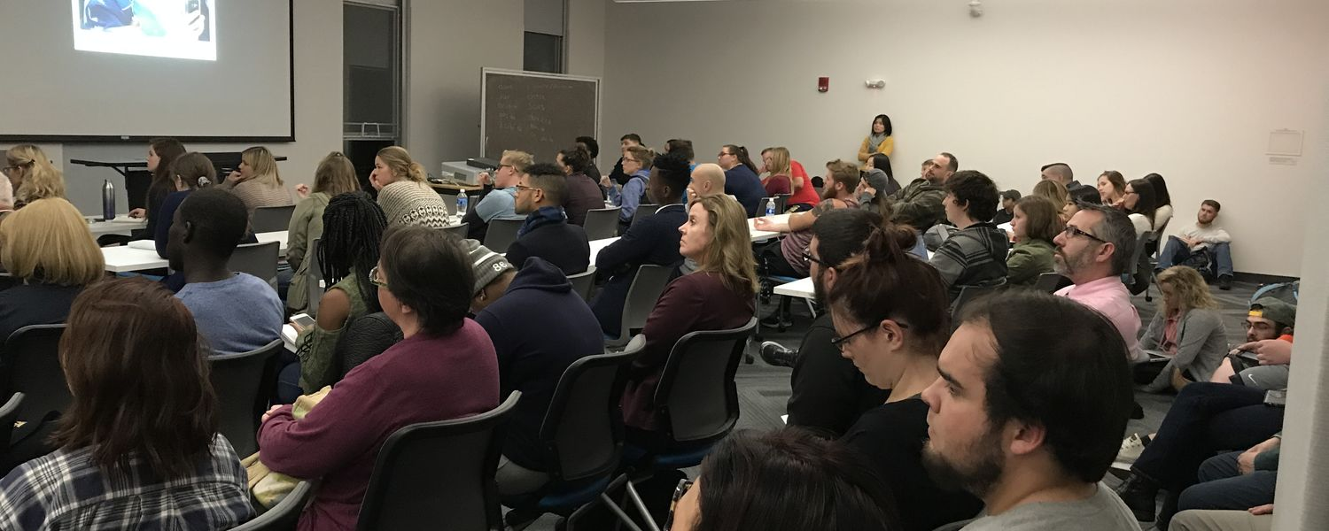 Students packed the room to hear Malia Politzer of the Pulitzer Center share her experiences working as a journalist abroad.