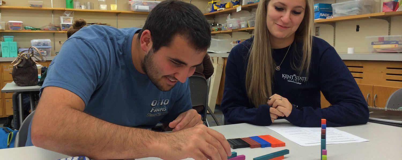 Students using building blocks