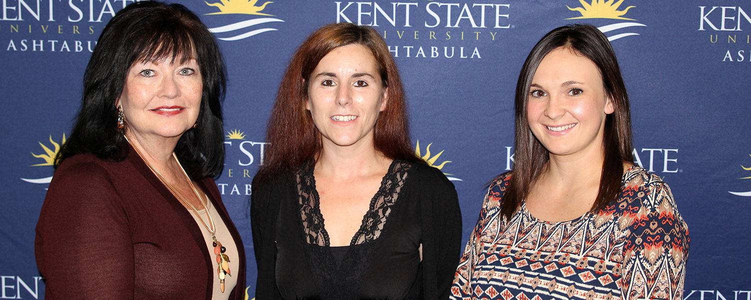 Faculty Advisor Lisa King poses with new Alpha Delta Nu inductees Trista Harris and Sarah Yeary