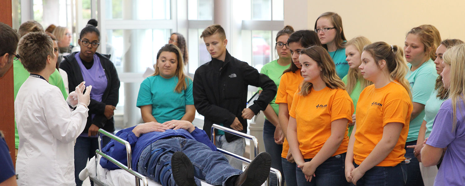 Area high schools students participate in the Ashtabula campus's annual Flash Medical Center