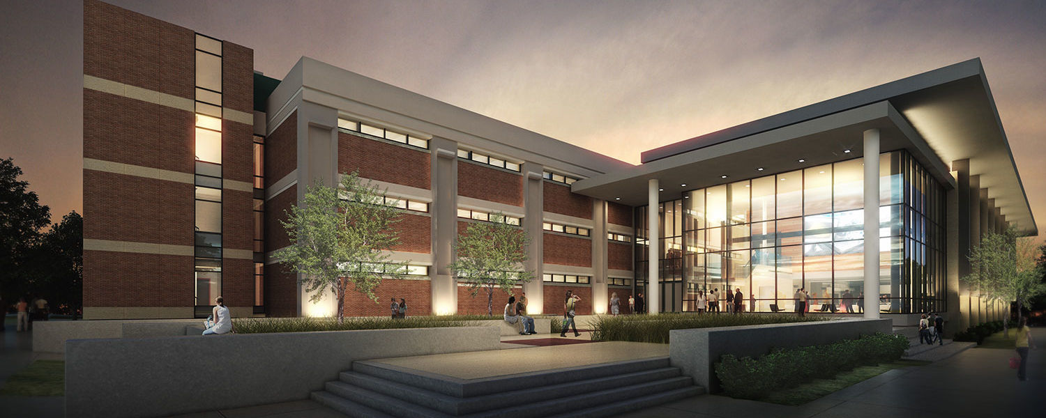 A rendering shows the north entrance of the new Integrated Sciences Building. The building will serve the departments of Chemistry and Biochemistry, Biological Sciences and Physics.