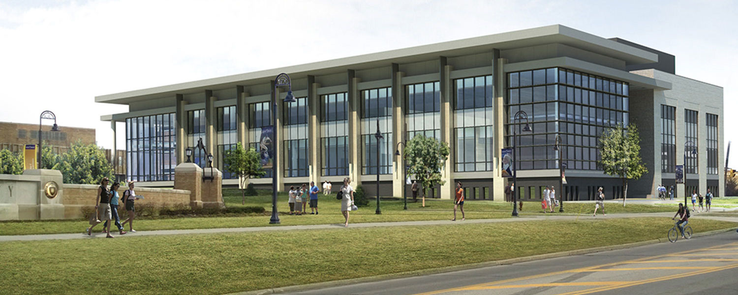 A rendering shows the south view of Kent State's new Integrated Sciences Building. The building is expected to be open for classes in fall 2017.