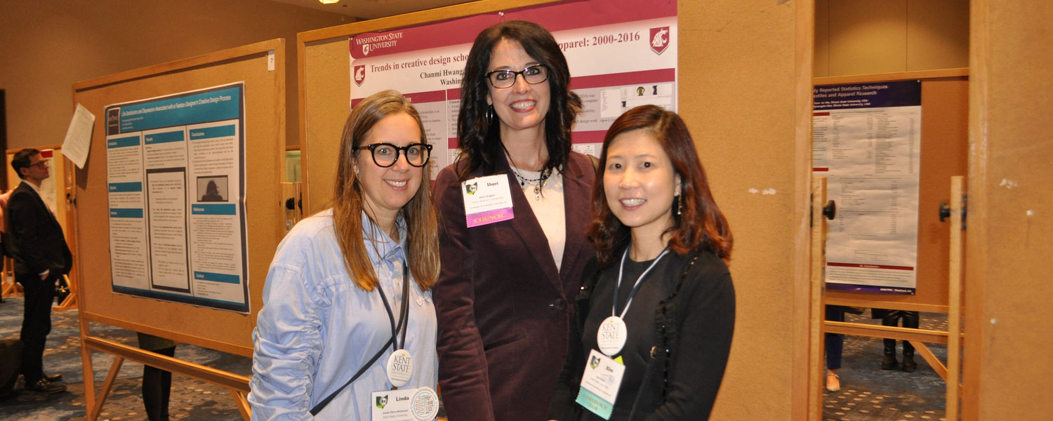 ITAA Co-Chairs Linda Ohrn-McDaniel (pictured left) and Dr. Kim Hahn (pictured right) of the Kent State Fashion School with ITAA Council Member, Sheri Dragoo, of Texas Woman's University (pictured middle).