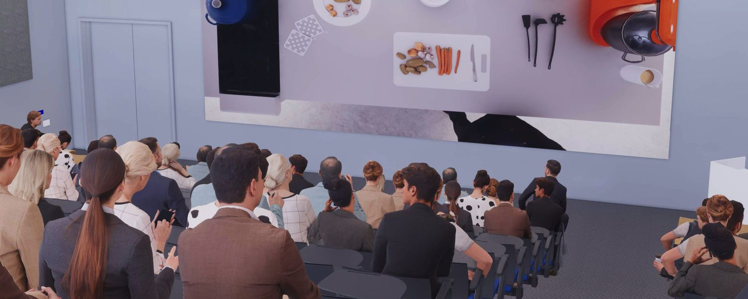 Computer-generated sketch of students observing Innovation Kitchen from its 200-seat lecture hall