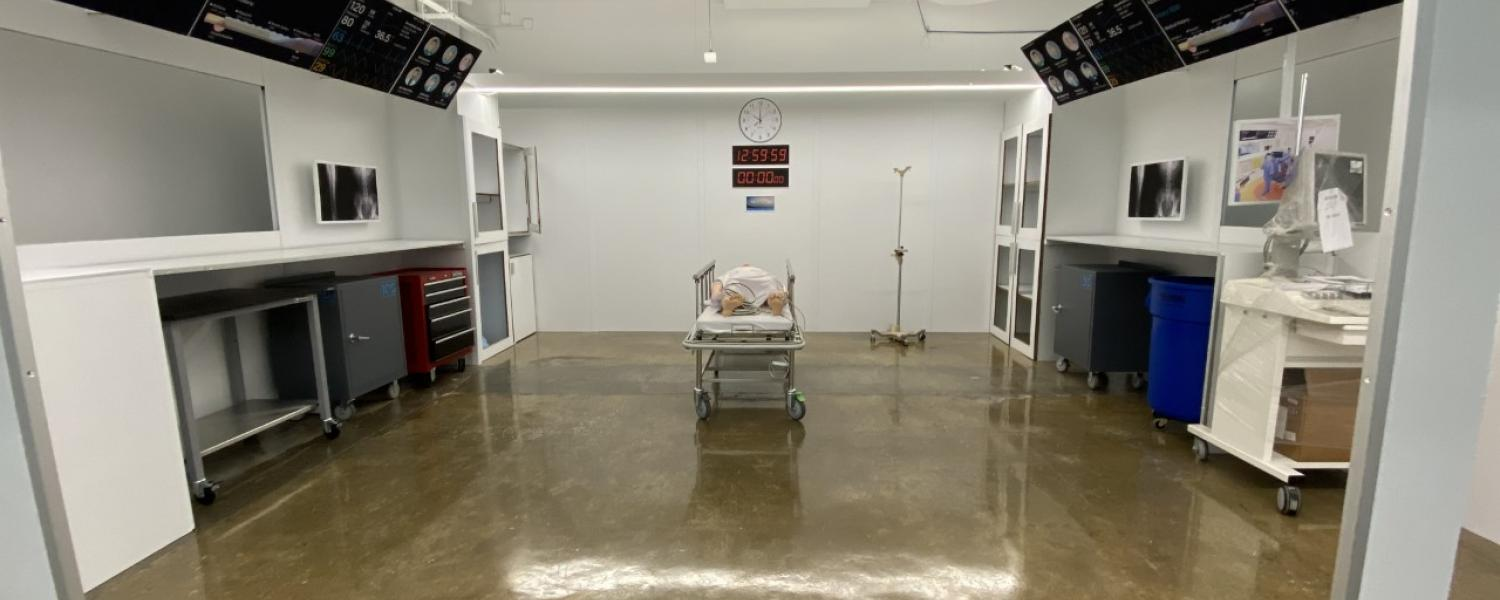 Image from one of the mock up trauma rooms in the design innovation hub.