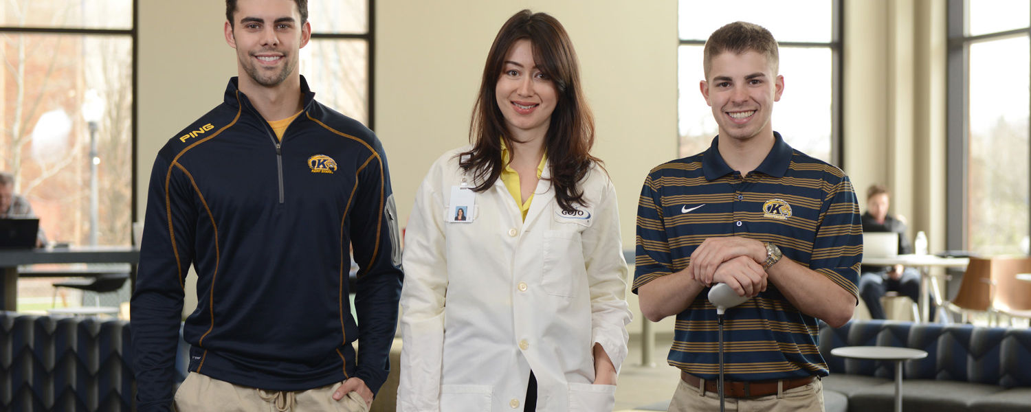 Kent State students Kyle Snyder, Nilufar Nurinova and Vincent Shannon have gained valuable experience through internships and co-ops at Federal-Mogul, National Heat Exchange Cleaning Corp., GOJO Industries and the PGA Tour.