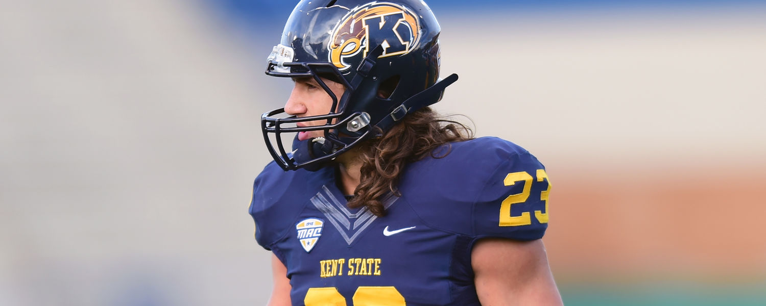 Kent State safety Jordan Italiano watches for signals from the sideline during a 2014 season game at Dix Stadium.