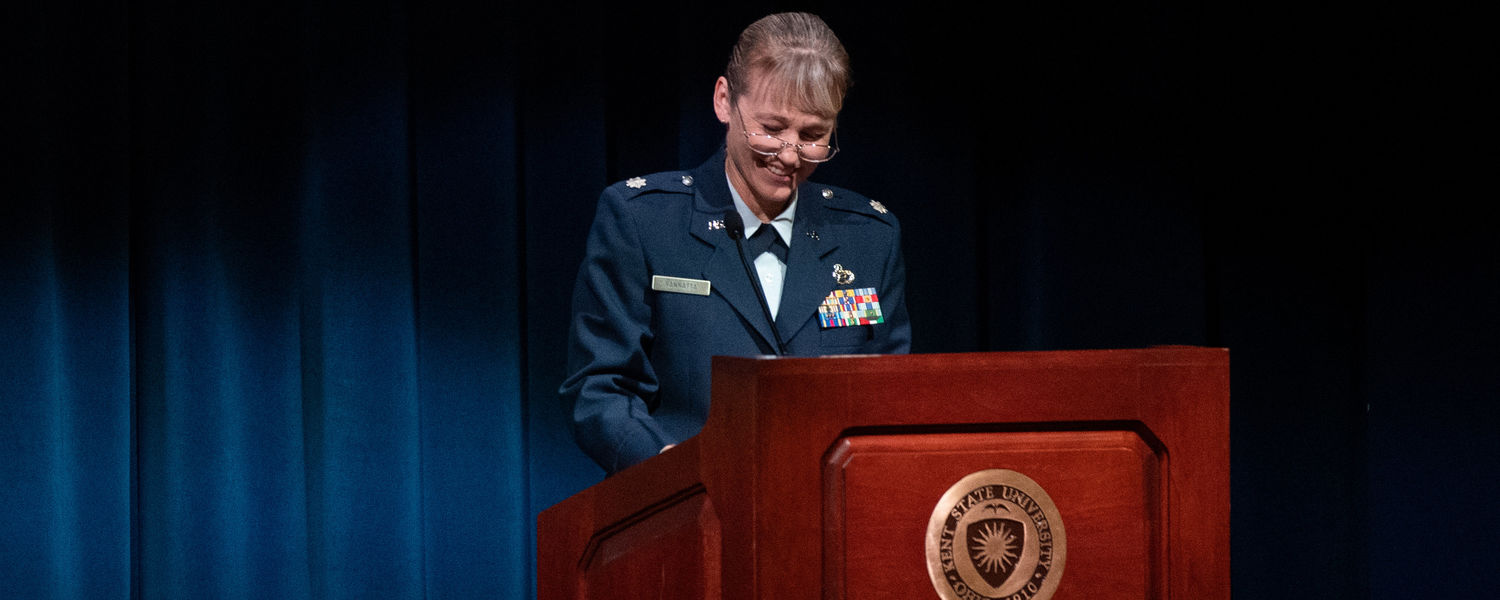 Guest speaker Lt. Col. Colleen VanNatta, a graduate of Kent State's Air Force ROTC detachment, shares lessons learned from her 31-year career with the military.