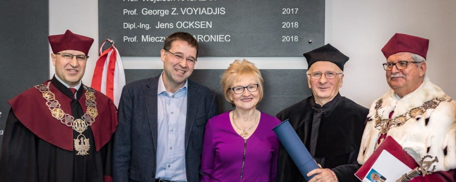 (left to right) Vice President Prof. Teofil Jesionowski, Jaroniec's son (a professor at Ohio State), Jaroniec's wife, himself, and President of Poznan University of Technology Tomasz Lodygowski