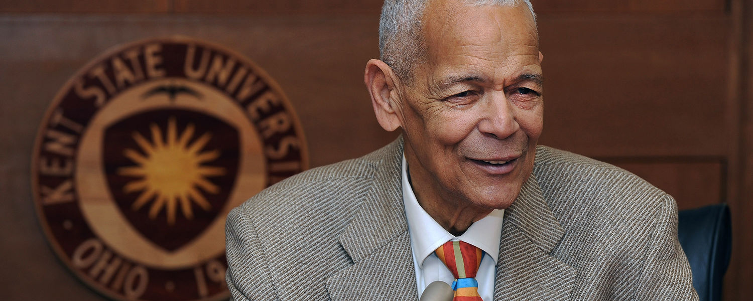 Civil Right Leader Julian Bond answers questions from the media following his Jan. 22, 2015 address at the Kent Student Center.