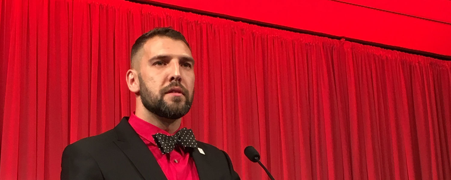 Michael Kavulic, Ph.D., speaks at Project GRAD Akron's 13th Annual Achieving Dreams Celebration Gala.