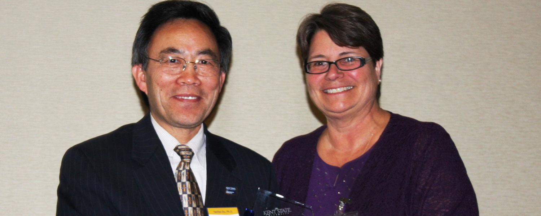 Dr. Yanhai Du with Dean/Dr. Christina Bloebaum