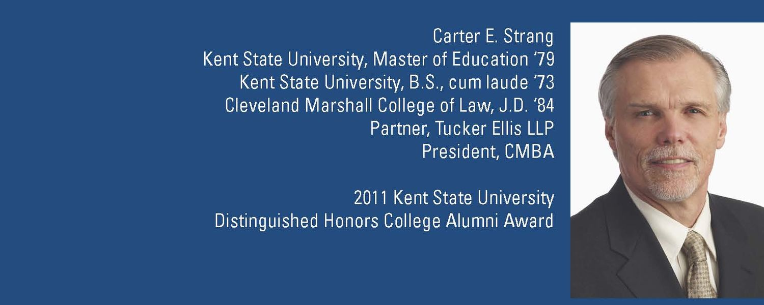 <Honors College alumnus Carter Strang was honored with a full page advertisement by Kent State University.>