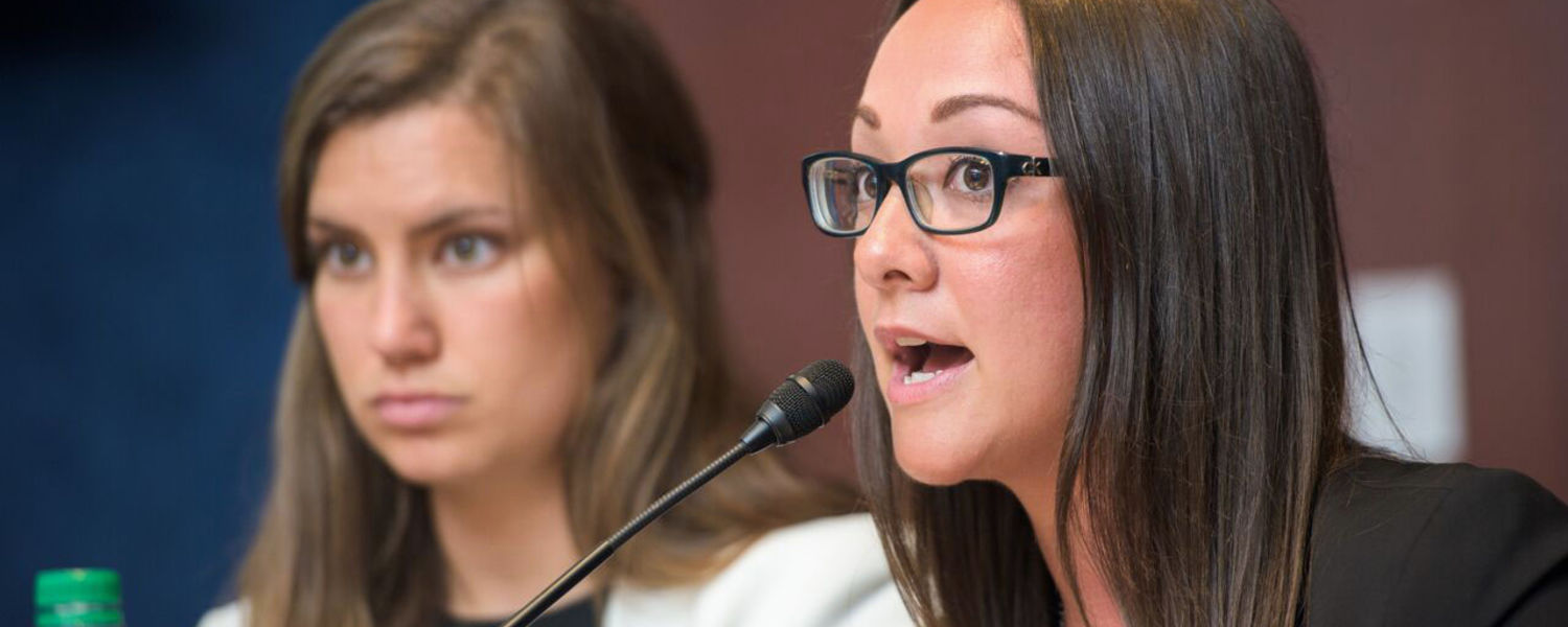 Kent State student Keri Richmond (right) speaks during a Congressional briefing on Capitol Hill about the U.S. foster care system. Photo Credit: Kami Swingle