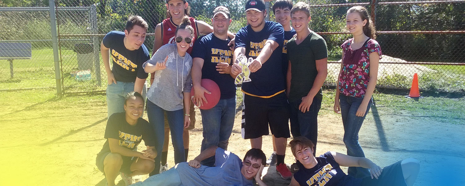 Kickball game at the Geauga Campus